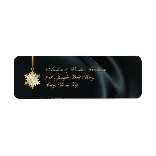 Gold Diamond Snowflake Black Silk Holiday Label