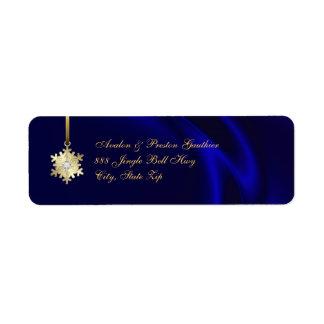 Gold Diamond Snowflake Blue Silk Holiday Return Address Label