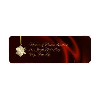 Gold Diamond Snowflake Red Silk Holiday Return Address Label