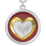 Gold & diamond studded heart necklace