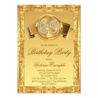 Gold Diamond Swirl Fancy 65th Birthday Card