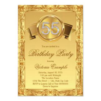 Gold Diamond Swirl Womans 55th Birthday Card