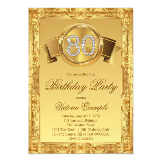 Gold Diamond Swirl Womans 80th Birthday Card