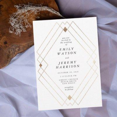 Gold Diamond White Geometric Deco Gatsby Wedding Invitation