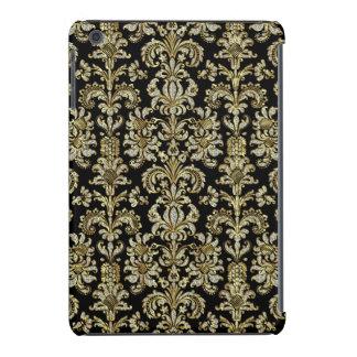 Gold & Diamonds 2 Floral Damasks Pattern On Black iPad Mini Cases