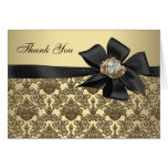 Gold Diamonds Black Damask Thank You Cards Note Card