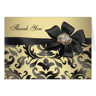 Gold Diamonds Black Damask Thank You Cards