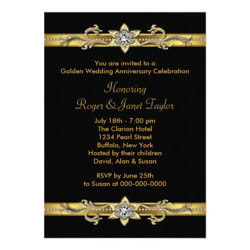 Gold Diamonds Elegant 50th Wedding Anniversary Custom Invitation (back side)