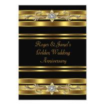 Gold Diamonds Elegant 50th Wedding Anniversary 5x7 Paper Invitation Card
