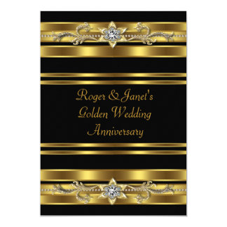 Gold Diamonds Elegant 50th Wedding Anniversary Invitation