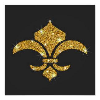 Gold Diamonds Fleur De Lis Photo Print