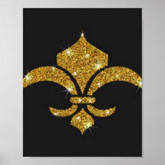 Gold Diamonds Fleur De Lis Poster