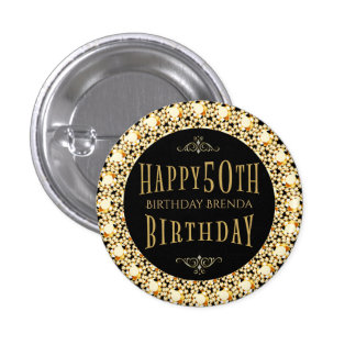 Gold Diamonds Glitter Happy 50th Birthday Template Button