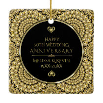 Gold Diamonds Happy 50th Wedding Anniversary Ceramic Ornament