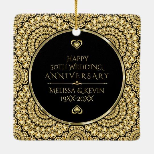 50th Wedding Anniversary Gift Etiquette: Gold Diamonds Happy 50th Wedding Anniversary Ceramic
