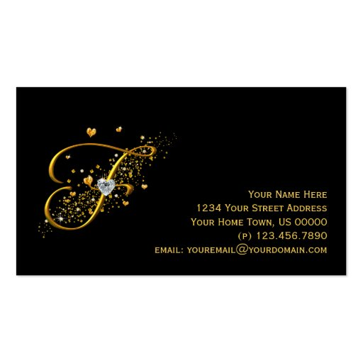 Gold & Diamonds Initial F Stardust Business Card
