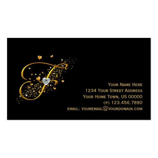 Gold & Diamonds Initial F Stardust Business Card