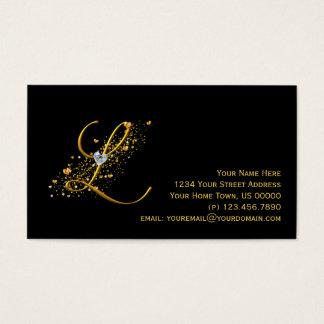 Gold & Diamonds Initial L Stardust Business Card
