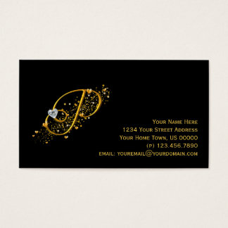 Gold & Diamonds Initial P Stardust Business Card