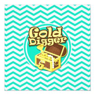 Gold Digger; Aqua Green Chevron Personalized Announcement