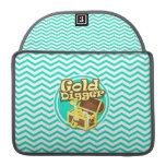 Gold Digger; Aqua Green Chevron Sleeve For MacBook Pro