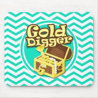 Gold Digger; Aqua Green Chevron Mouse Pad