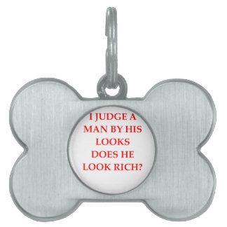 gold digger pet name tags
