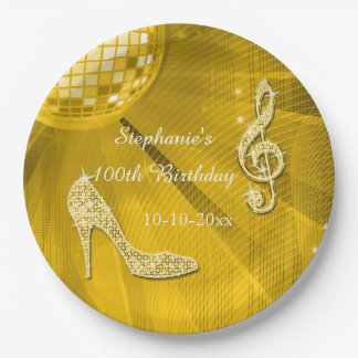 Gold Disco Ball and Heels 100th Birthday 9 Inch Paper Plate