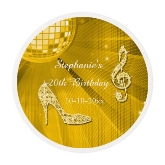 Gold Disco Ball and Heels 20th Birthday Edible Frosting Rounds