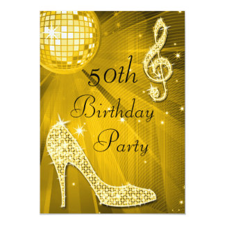 Gold Disco Ball and Heels 50th Birthday 5x7 Paper Invitation Card