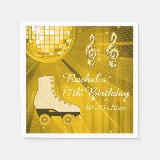 Gold Disco Ball and Roller Skates 17th Birthday Napkin