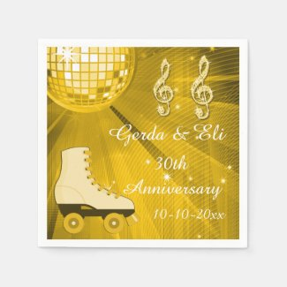 Gold Disco Ball and Roller Skates 30th Anniversary Paper Napkin