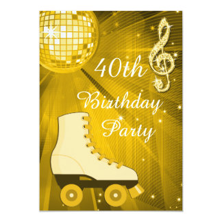 Gold Disco Ball and Roller Skates 40th Birthday Card