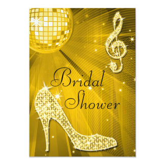 Gold Disco Ball and Sparkle Heels Bridal Shower Card