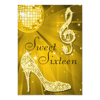 Gold Disco Ball and Sparkle Heels Sweet 16 5x7 Paper Invitation Card