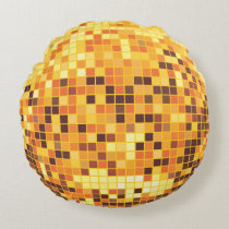 Gold Disco Ball Round Pillow