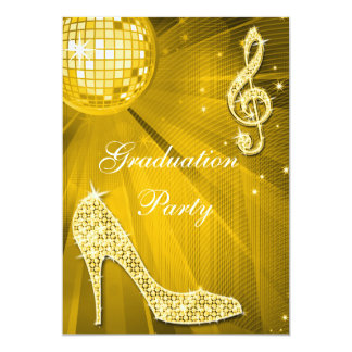 Gold Disco Ball Sparkle Heels Graduation Card