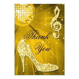 Gold Disco Ball Sparkle Heels Thank You 3.5x5 Paper Invitation Card