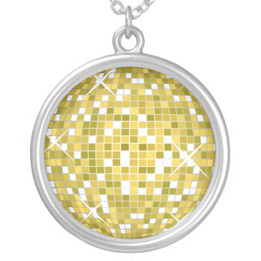 Gold Disco Ball Sterling Silver Chain Personalized Necklace