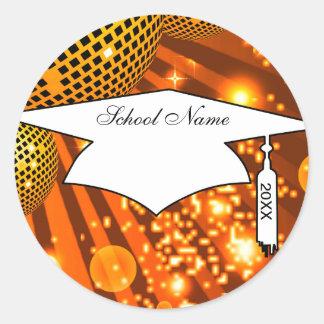 gold disco grad graduation classic round sticker
