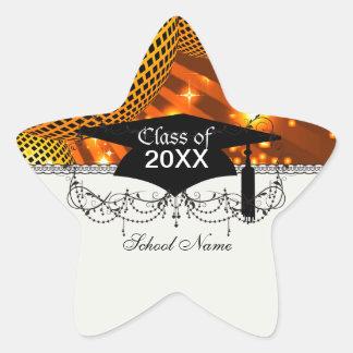 gold disco grad graduation star sticker