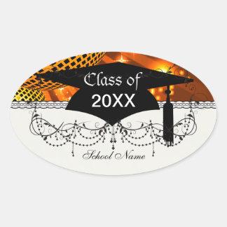 gold disco grad graduation oval sticker