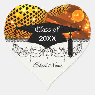 gold disco grad graduation heart sticker