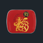 """Gold Dog Papercut Chinese New Year 2018 R Candy T Jelly Belly Candy Tin<br><div class=""""desc"""">Customizable red candy tin with golden traditional Chinese papercut of Dog and Chinese Dog Symbol. Perfect for Chinese New Year 2018 or birthday (people born in Dog Year) You can easily change text by clickling the personalize or customize button. ----- &quot;&quot;The Dog (狗) is one of the 12-year cycle of...</div>"""