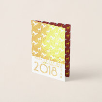 Gold Dog Year 2018 Dog Pattern mini Foil Card