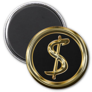 GOLD DOLLAR SIGN 2 INCH ROUND MAGNET