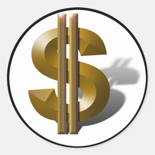Gold Dollar Sign Classic Round Sticker