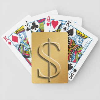 Gold Dollar Sign Poker Cards