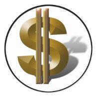 Gold Dollar Sign Round Sticker