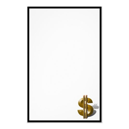 Gold Dollar Sign Stationery Paper